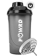 POWRD® Shaker Black Edition 600 ml met dubbele membraan-zeefmixer voor romige shakes - voor fitness, wei-eiwit, isolaat, BCaa, gamer - BPA/DEHP-vrij, lekvrij, in zwart