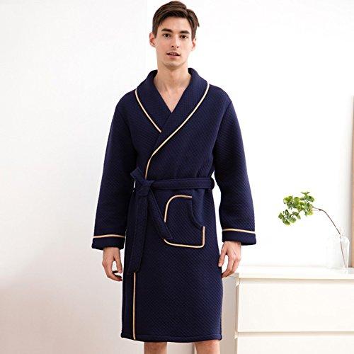 Bata de baño Hombres y Mujeres Albornoces Parejas Chal Collar Robe Franela Hotel Spa Otoño e Invierno Pijamas ( Color :...