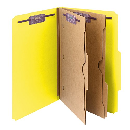 """UPC 086486190848, Smead Pressboard Classification File Folder with Wallet Divider and SafeSHIELD Fasteners, 2 Dividers, 2"""" Expansion, Legal Size, Yellow, 10 per Box (19084)"""