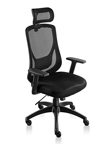 NKV Ergonomic Office Chair High Back Mesh Chair Mesh Desk Executive Office Chair with Adjustable Headrest and Armrests Tilt Lock Lumbar Support Black