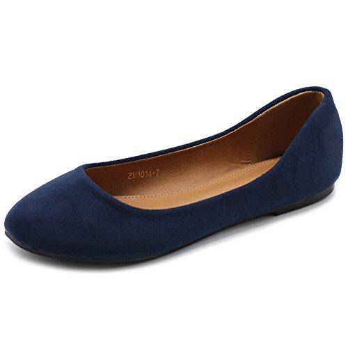 Ollio Womens Shoe Ballet Light Faux Suede Low Heels Flat ZM1014(11 B(M) US, Navy)