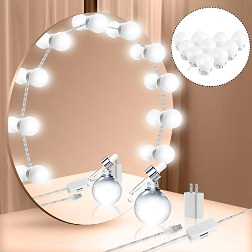Vanity Mirror Lights Kit, Hollywood Style LED Vanity Lights Makeup Lighting Fixture Strip with 10 Dimmable Light Bulbs, Dimmer, USB Phone Adapter Charger for Makeup Vanity Table Bathroom Dressing Room