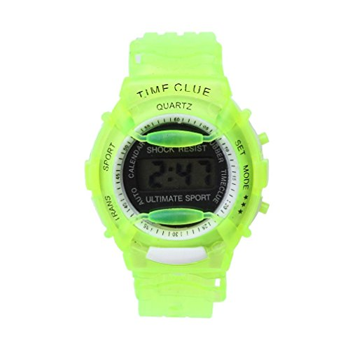 Child Watch, Woaills Toy Wrist Watch Sport with Soft Silicone Strap for Kids Green