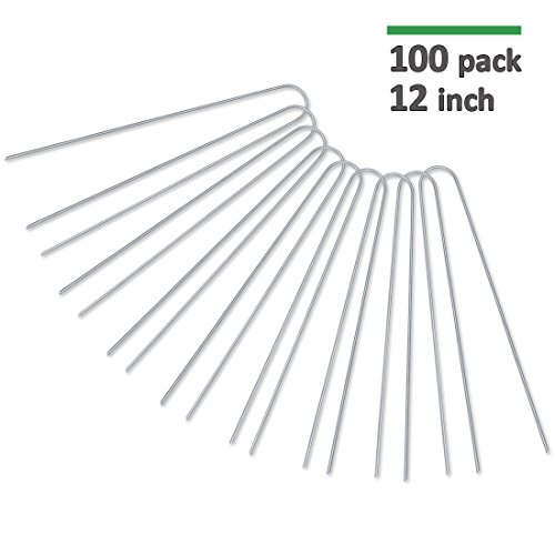 GROWNEER 100-Pack 12 Heavy Duty 11 Gauge Galvanized Steel Garden Stakes Staples Securing Pegs for Securing Weed Fabric Landscape Fabric Netting Ground Sheets and Fleece