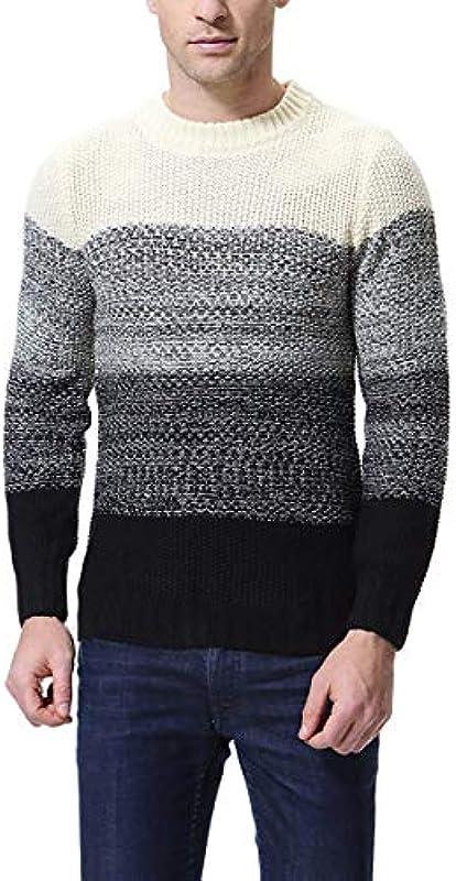 Męski sweter z długim rękawem czarodziejski kolor sweter dziergany sweter ciepły odzież grubość jesień zima długi rękaw Slim Fit sweter dziergany: Odzież