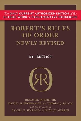 Roberts Rules Of Order Newly Revised