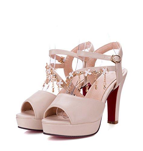 Moda Mujer verano sandalias confortables tacones altos beige 8cm heels