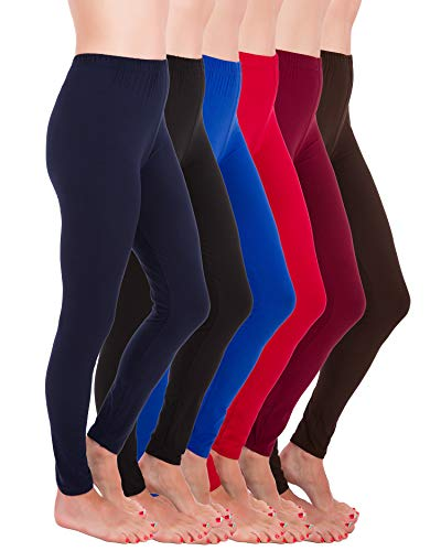 (Homma Premium Ultra Soft High Rise Waist Full Length Regular and Plus Size Variety Pack Leggings (3XL/4XL, Navy,Black,Blue,Red,Burgundy,Brown))
