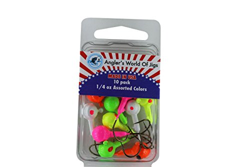 (Angler's World of Jigs - Round Freshwater Fishing Jig Heads - Bright Assorted Colors - Two Tone Glow (1/4 oz Assorted Colors, 10)