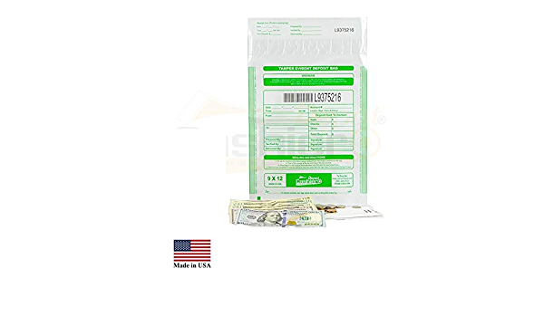 serialisierte Nummerierung transparent Press- /& Seal Void Verschlussband 22,9 x 30,5 cm 100 Beutel Cashier Depot Manipulationssichere Bankeint/üten Barcode
