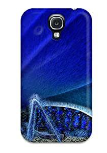 Perfect Tpu Case For Galaxy S4/ Anti-scratch Protector Case (blue Butterfly And Some Flowers)