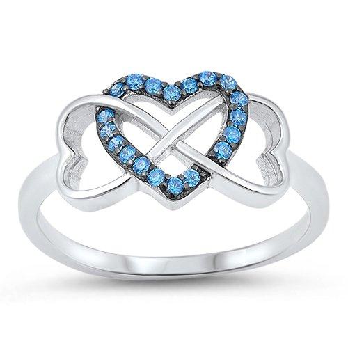 Bague Femme Argent Fin Bleu Topaze Oxyde De Zirconium Infinité Cœur