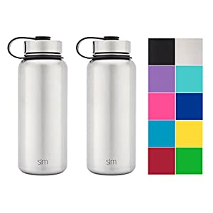Simple Modern 32oz Summit Water Bottle 2 Pack - Two Vacuum Insulated 18/8 Stainless Steel Wide Mouth Hydro Travel Mugs - Powder Coated Double-Walled Flask - Simple Stainless/Simple Stainless
