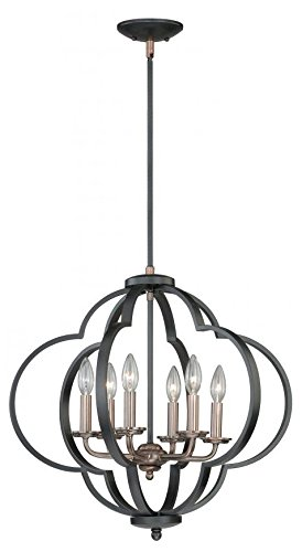 Vaxcel P0186 Amory 6 Light Pendant, Muted Copper & New Bronze Finish ()