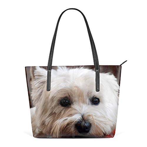Women Beach Travel Totes Westie Dog PU Leather Shoulder Handbag