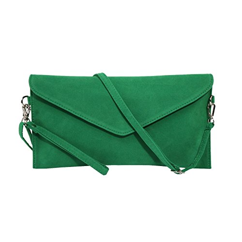Green Clutch Purse - Jieway Women's Faux Suede Evening Clutch Bag Crossbody Bag Shoulder Handbags (Green)