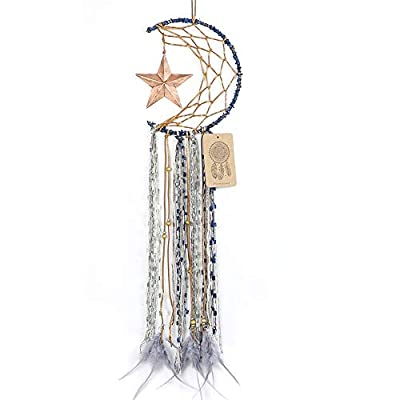 Dremisland Blue Dream Catcher Handmade Half Circle Moon Design Dream Catcher Feather Hanging with Star Home Decoration Ornament Festival Gift (Moon& Star) - Material: Metal circle, Wood beads, Natural feather, cotton Lace,Vintage Star Diameter size:20m/8 inch, total length:64cm/25inch Unique Star design Creates a festive and cheerful atmosphere for the room. - living-room-decor, living-room, home-decor - 41UGbMLbbeL. SS400  -