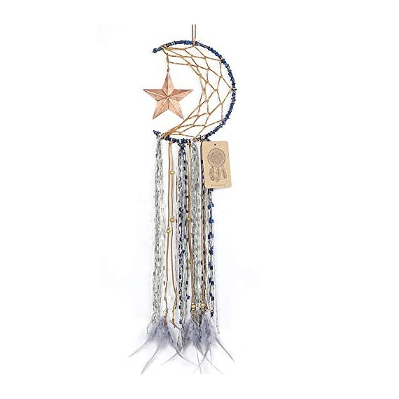 Dremisland Blue Dream Catcher Handmade Half Circle Moon Design Dream Catcher Feather Hanging with Star Home Decoration… - Material: Metal circle, Wood beads, Natural feather, cotton Lace,Vintage Star Diameter size:20m/8 inch, total length:64cm/25inch Unique Star design Creates a festive and cheerful atmosphere for the room. - living-room-decor, living-room, home-decor - 41UGbMLbbeL. SS570  -