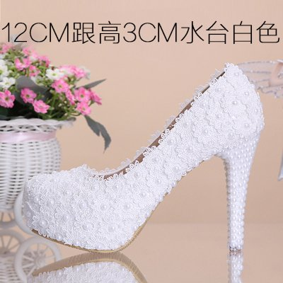 Color Women'S Heel Pink Bridal Toe Waterproof 12Cm Pearl White Lace Wedding 4 Shoes Flowers High Red Prom Shoes Sandals Shoes Round Heeled VIVIOO fUoq6SR