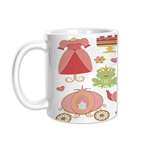 (Kids Decor Stylish White Printed Mug,Princess Tiara Tea Party Mirror Teapot Tea Party Frog Crown Fairy Cupcake Girls Decorative for Living Room Bedroom,3.1