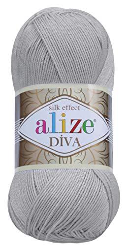 Hand Knitting Yarn 100% Microfiber Acrylic Yarn Alize Diva Silk Effect Thread Crochet Art Lace Craft Lot of 4 skeins 400gr 1532yds Color (355 Grey)