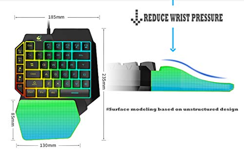 Gaming Keyboard T15 Wired 39 Keys LED Backlit Membrane Ergonomic Single Hand Keypad Gaming Keyboard One-Handed Gaming Keypad (B(Ordinary keycap))