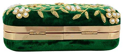 Tooba Women's Zari Zirkon Box Clutch