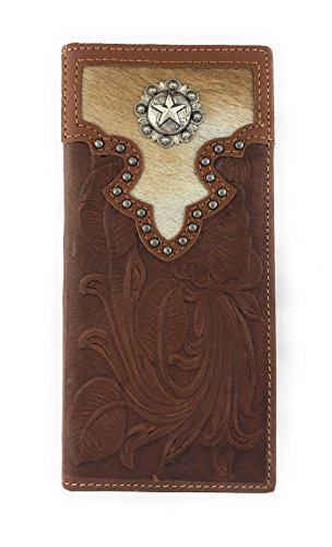 Calf Leather Large (Men's Western Rodeo Genuine Bifold Long Leather Wallet (Brown, Star iwith Calf Hair))