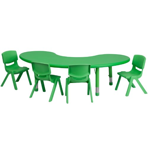 Stacking Moon Chair - Flash Furniture 35''W x 65''L Half-Moon Green Plastic Height Adjustable Activity Table Set with 4 Chairs