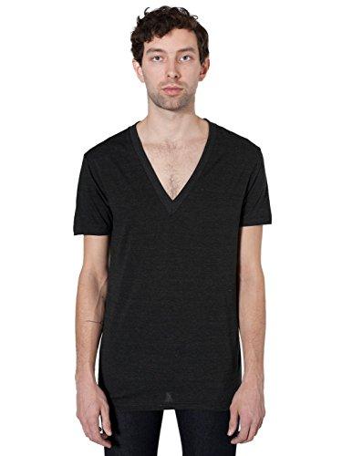 American Apparel V-neck Shirt - American Apparel Unisex Tri-Blend Short Sleeve Deep V-Neck, Tri/Black, Large