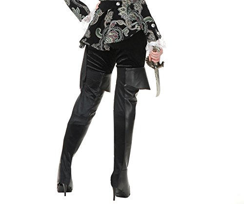 Charades Black Suede Thigh High Pirate Costume Boot -