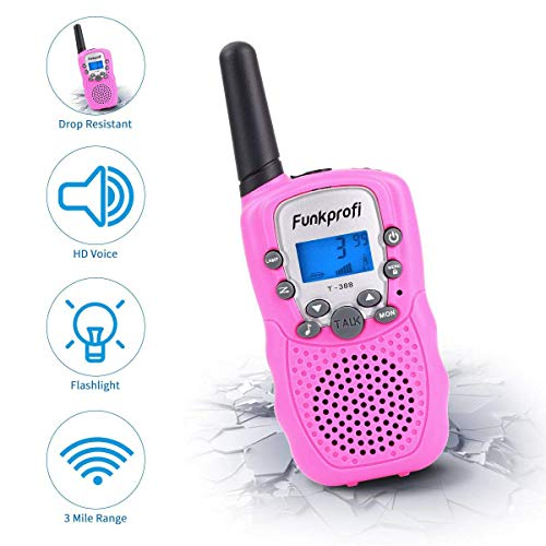 Funkprofi Walkie Talkies for Kids 22 Channels Long Range Rechargeable Walkie Talkies with Battery and Charger, Gift for Boys and Girls, 1 Pair (Pink) by Funkprofi (Image #3)