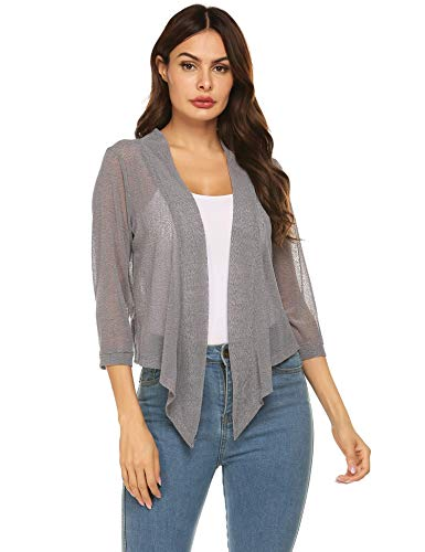 (Concep Womens Sheer Shrug Cardigan Cropped Bolero Jacket Lightweight Knit with Ties (Gray, M))