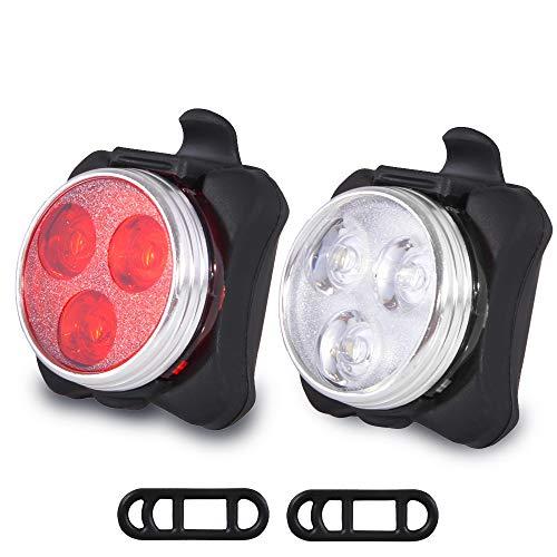 Wanku Bike Light Set - USB Rechargeable Bicycle Light - Bike Lights Front and Back/Super Bright Bike Headlight -Waterproof -4 Light Mode Options