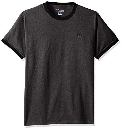 Ringer T-shirt Heather Mens (Champion Men's Classic Jersey Ringer Tee, Granite Heather/Black, XXL)