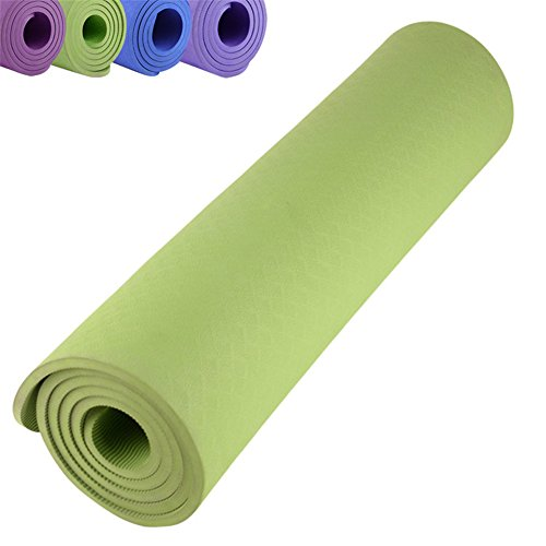 WIN.MAX Yoga Mat Non Slip Large Padded Eco Friendly SGS Approved 2/5-Inch (10mm) Gym Fitness Yoga Exercise Mats in Green