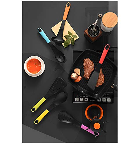Heat Resistant Silicone Kitchen Utensils Set | 6 Pieces Bundle + Utensil Holder | Non-Stick Essential Cooking Gadgets & Cookware|Strong, Durable, And Good Quality Material Tools Set | BPA Free