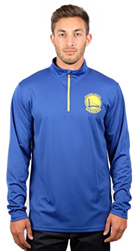 fan products of NBA Men's Golden State Warriors Quarter Zip Pullover Shirt Long Sleeve Tee, X-Large, Blue