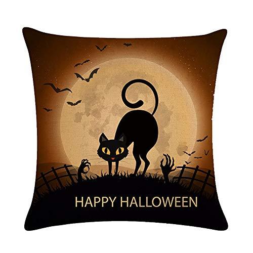 Ezyforu Throw Pillow Covers Happy Halloween Cartoon Black Cat Night Cotton Linen Burlap Decor Couch Pillowcases Cushion Cases 18
