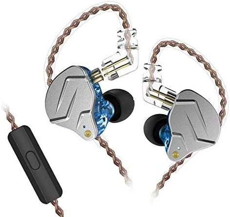 KZ ZSN Pro in Ear Monitors 1Balanced Armature and 1Dynamic Drivers Earphones, HiFi IEM Dual Drivers Hybrid in Ear Headsets with 2Pin Earphone Replacement Cable with Mic, Blue