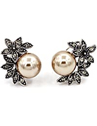 Vintage Statement Pearl Stud Earrings Ivory Pearl Ear Jacket Round Circle Dangle Earrings
