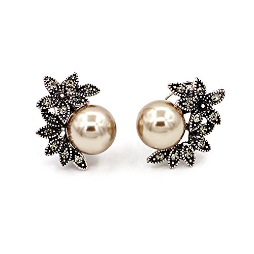 Hanloud Vintage Statement Bridal Clip-On Pearl Earrings Crystal Smoky Simulated Pearls Earrings (Bridal Vintage Earrings)