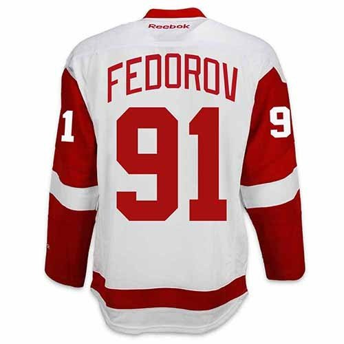 Detroit Red Wings VINTAGE Sergei FEDOROV #91 *A* Official Road Reebok NHL Hockey Jersey (SEWN TACKLE TWILL NAME / NUMBERS)