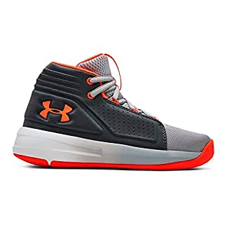 Under Armour Boys' Pre School Torch Mid Basketball Shoe, Mod Gray (101)/Pitch Gray, 1 M US Little Kid