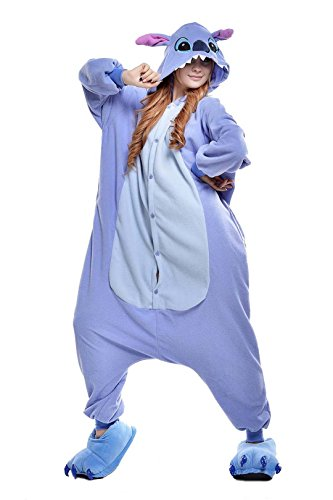 [Unisex Adult Blue Stitch Kigurumi Animal Onesie Pajamas Costume Cosplay Clothing Sleepwear Romper] (Role Reversal Halloween Costumes)