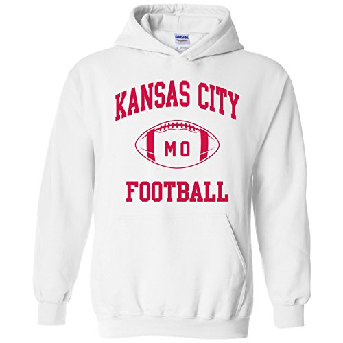 Kansas City Classic Football Arch American Football Team Sports Hoodie - Medium - White