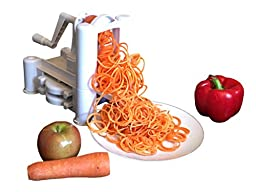 Brieftons 5-Blade Spiralizer: Strongest-and-Heaviest Duty Vegetable Spiral Slicer, Best Veggie Pasta Spaghetti Maker for Low Carb/Paleo/Gluten-Free Meals, With 3 Exclusive Recipe eBooks - White