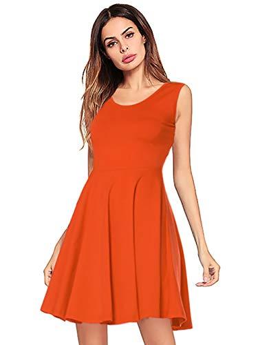 Amoretu Women's Solid Casual Swing Sleeveless Tank Dress for Summer Plus Size (Orange, XXL)
