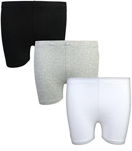 Beverly Hills Polo Club Girls School Uniform Bike Short (3 Pack), Black, Grey & White, 4/5' by Beverly Hills Polo Club