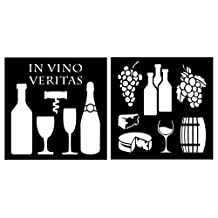 Auto Vynamics - STENCIL-WINESET01-10 - Detailed Wine, Cheese, & Accessories Stencil Set - Featuring Wine Bottles, Glasses, Grapes, & More! - 10-by-10-inch Sheet - (2) Piece Kit - Pair of Sheets